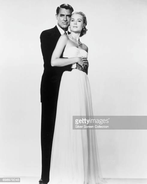 Actors Cary Grant as John Robie and Grace Kelly as Frances Stevens in the Alfred Hitchcock romantic thriller 'To Catch a Thief' 1955