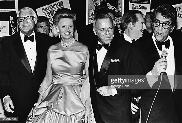 Actors Cary Grant, Dina Merrill, Milton Berle and Dean Martin flank Frank Sinatra at a 1979 Las Vegas, Nevada, party honoring Frank Sinatra.