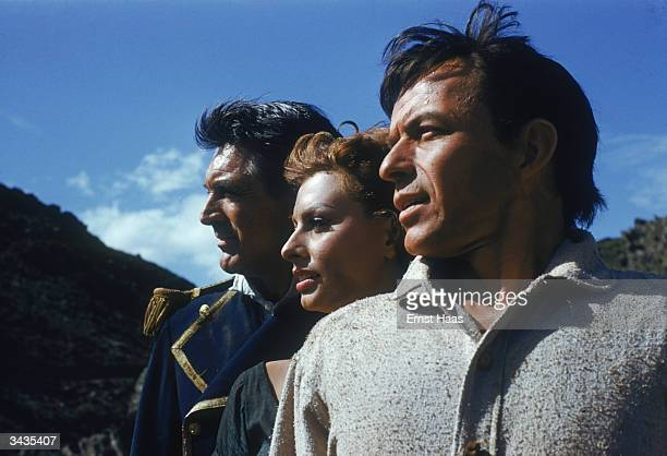 Actors Cary Grant Sophia Loren and Frank Sinatra from the film United Artists' film 'The Pride and The Passion' directed by Stanley Kramer