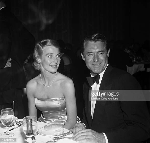 Actors Cary Grant with Betsy Grant attend the Academy Awards in Los Angeles California