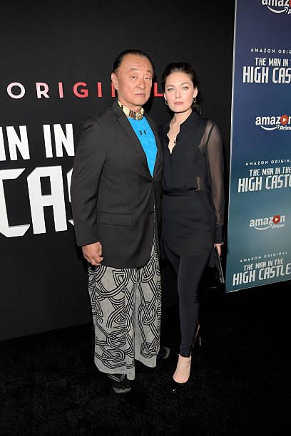 actors cary hiroyuki tagawa l and alexa davalos attend the amazon red carpet