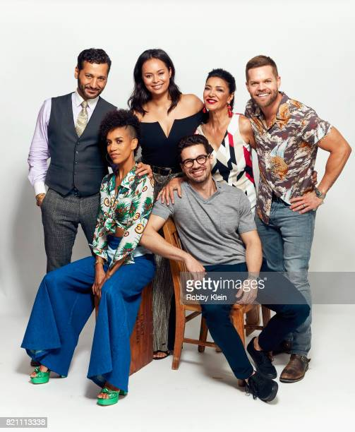 Actors Cas Anvar Dominique Tipper Frankie Adams Steven Strait Shohreh Aghdashloo and Wes Chatham from Syfy's 'The Expanse' poses for a portrait...