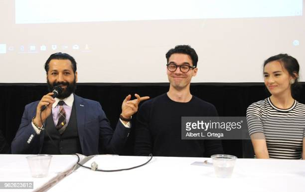 Actors Cas Anvar Steven Strait and Cara Gee attend the Science Of The Expanse Panel held at Sheraton Gateway Hotel on May 25 2018 in Los Angeles...