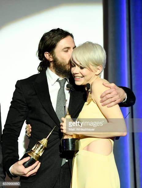 Actors Casey Affleck and Michelle Williams speak onstage at the Cinema Vanguard Award during the 32nd Santa Barbara International Film Festival at...