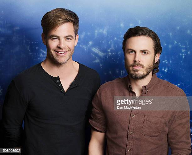 Actors Casey Affleck Chris Pine are photographed for USA Today on January 12 2016 in West Hollywood California