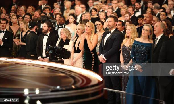 Actors Casey Affleck Michelle Williams Busy Philipps Ben Affleck and Meryl Streep attend the 89th Annual Academy Awards at Hollywood Highland Center...