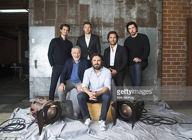 Actors Casey Affleck Robert DeNiro Adam Driver Joel Edgerton Andrew Garfield and Matthew McConaughey are photographed for Los Angeles Times on...