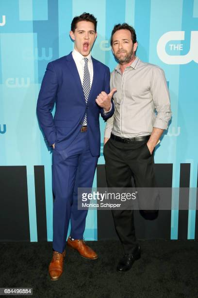 Actors Casey Cott and Luke Perry attend the 2017 CW Upfront on May 18 2017 in New York City