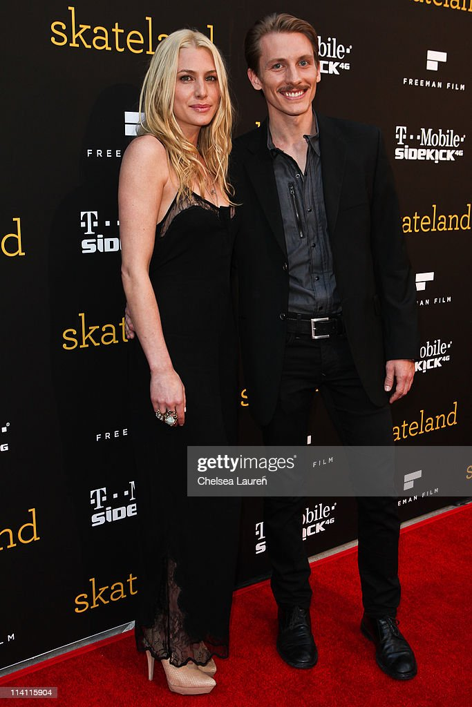 Actors Casey LaBow (L) and James Hebert (R) arrive at the 'Skateland' premiere at ArcLight Cinemas on May 11, 2011 in Hollywood, California.