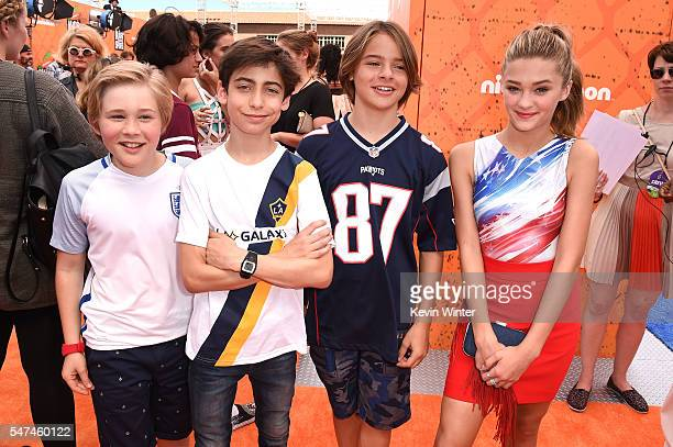 Actors Casey Simpson Aidan Gallagher Mace Coronel and Lizzy Greene attend the Nickelodeon Kids' Choice Sports Awards 2016 at UCLA's Pauley Pavilion...