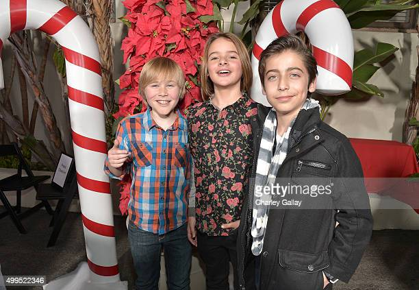 Actors Casey Simpson Mace Coronel and Aidan Gallagher attend a screening of Nickelodeon's Ho Ho Holiday Special at Paramount Studios on December 1...