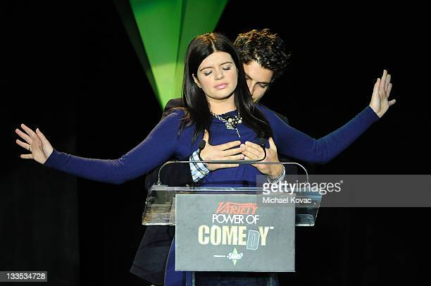 Actors CAsey Wilson and Adam Pally speaks onstage at Variety's Power of Comedy Presented By The Sims 3 Benefiting The Noreen Fraser Foundation at...