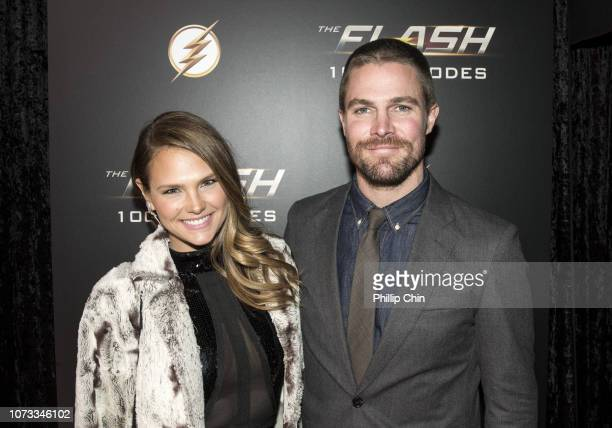 """Actors Cassandra Jean Whitehead and Stephen Amell attend the red carpet at """"The Flash"""" 100TH Episode Celebration at the Commodore Ballroom on..."""