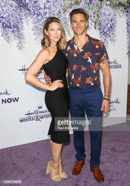 Actors Cassandra Troy and Andrew Walker attend the 2018 Hallmark Channel Summer TCA at Private Residence on July 26 2018 in Beverly Hills California