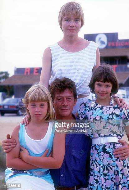 Actors Cassie Barasch John Hurt Karen Young and Ellie Raab on location filming the movie 'Little Sweetheart' in 1987 on St George Island in Florida