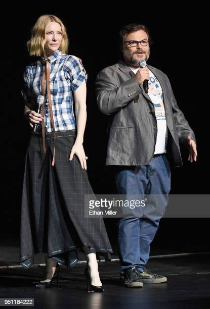 Actors Cate Blanchett and Jack Black speak onstage during CinemaCon 2018 Universal Pictures Invites You to a Special Presentation Featuring Footage...