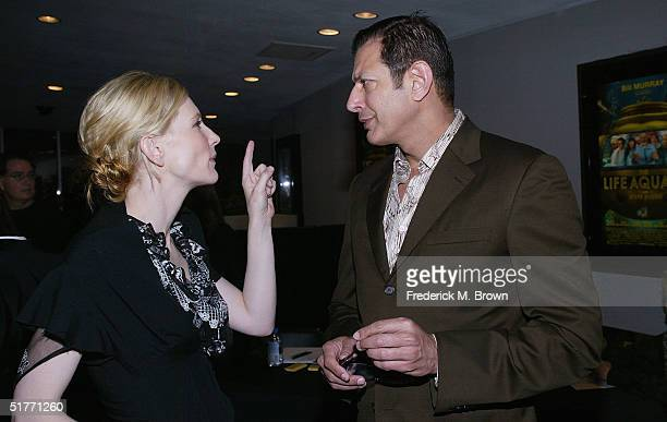 "Actors Cate Blanchett and Jeff Goldblum attend the film premiere of ""The Life Aquatic With Steve Zissou"" on November 20, 2004 at the Harmony Gold..."