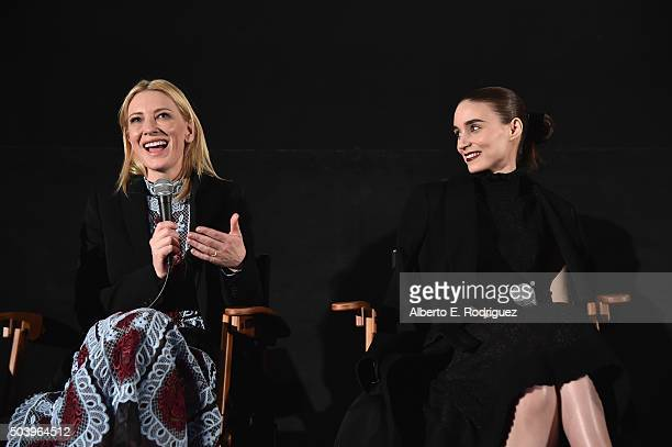 Actors Cate Blanchett and Rooney Mara attend the American Cinematheque's Screeing and QA for The Weinstein Company's Carol at the Egyptian Theatre on...
