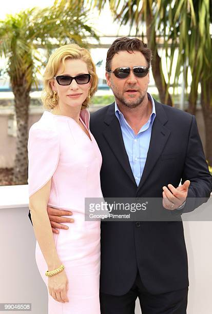 Actors Cate Blanchett and Russell Crowe attend the 'Robin Hood' Photocall held at the Palais Des Festivals during the 63rd Annual International...