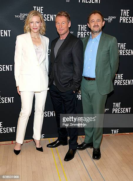 Actors Cate Blanchett Richard Roxburgh and playwright Andrew Upton attend 'The Present' Cast Photocall at The New 42nd Street Studios on December 8...