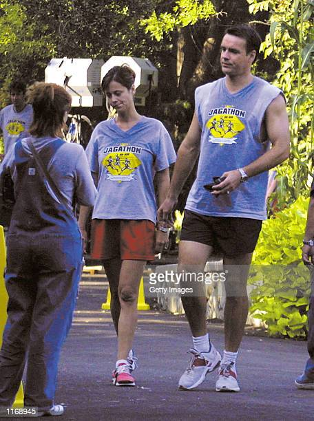 Actors Catherine Bell and David James Elliot film a scene for the TV show JAG October 6 2001 in Los Angeles CA