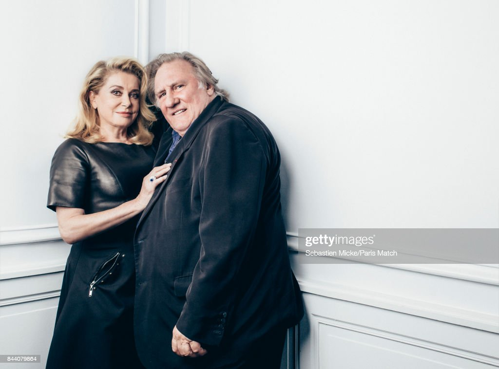 Actors Catherine Deneuve and Gerard Depardieu are photographed for Paris Match on August 25, 2017 in Angouleme, France.
