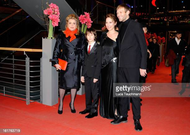 Actors Catherine Deneuve, Nemo Schiffman, director Emmanuelle Bercot and actor Paul Hamy attend the 'On My Way' Premiere during the 63rd Berlinale...