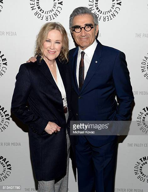Actors Catherine O'Hara and Eugene Levy attend The Paley Center For Media Presents An Evening With 'Schitt's Creek' at The Paley Center for Media on...