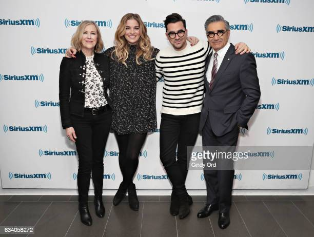 Actors Catherine O'Hara Annie Murphy Dan Levy and Eugene Levy visit the SiriusXM Studios on February 6 2017 in New York City