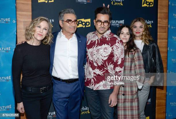 Actors Catherine O'Hara Eugene Levy Dan Levy Emily Hampshire and Annie Murphy attend the Schitt's Creek panel during Vulture Festival Los Angeles at...
