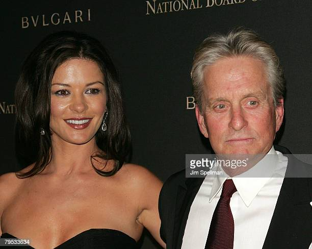 Actors Catherine Zeta Jones and Michael Douglas arrive at the 2007 National Board of Review of Motion Pictures Awards Gala at Cipriani's 42nd St on...