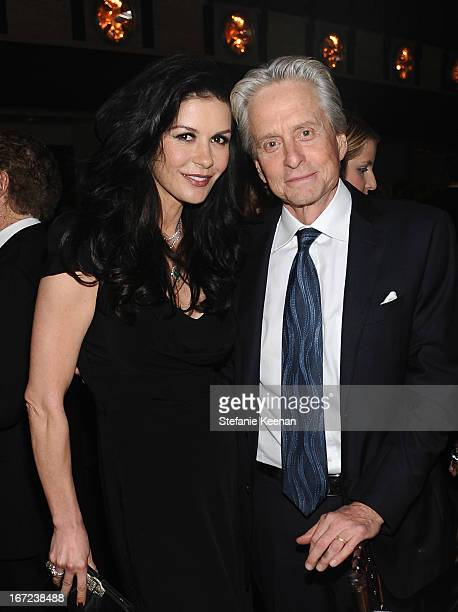 Actors Catherine Zeta Jones and Michael Douglas attend The Film Society of Lincoln Center's 40th Chaplin Award Gala supported by Grey Goose vodka at...