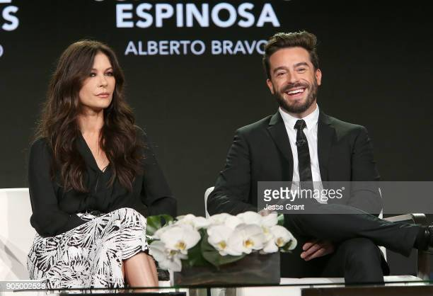 Actors Catherine ZetaJones and Juan Pablo Espinosa attend AE Networks' 2018 Winter Television Critics Association Press Tour on January 14 2018 in...