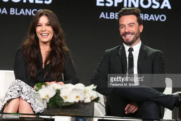 Actors Catherine ZetaJones and Juan Pablo Espinosa of 'Cocaine Godmother The Griselda Blanco Story' speak onstage during the AE Networks portion of...