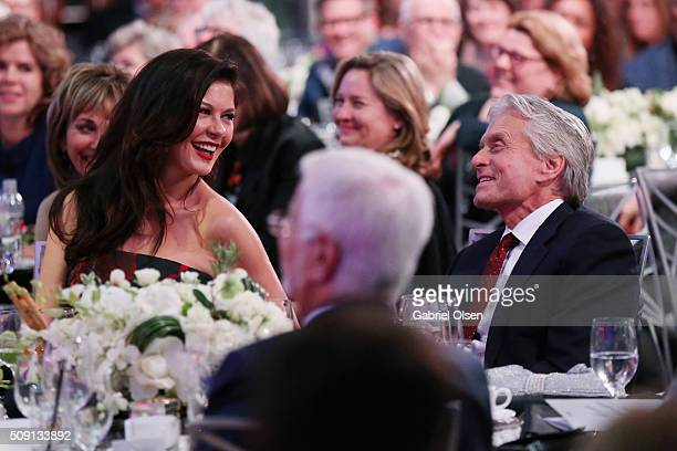 Actors Catherine ZetaJones and Michael Douglas attend AARP's Movie For GrownUps Awards at the Beverly Wilshire Four Seasons Hotel on February 8 2016...