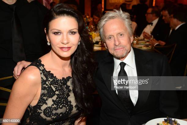 Actors Catherine ZetaJones and Michael Douglas attend the 2014 AFI Life Achievement Award A Tribute to Jane Fonda at the Dolby Theatre on June 5 2014...