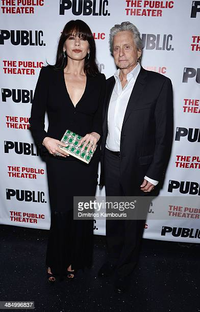 Actors Catherine ZetaJones and Michael Douglas attend The Library opening night celebration at The Public Theater on April 15 2014 in New York City