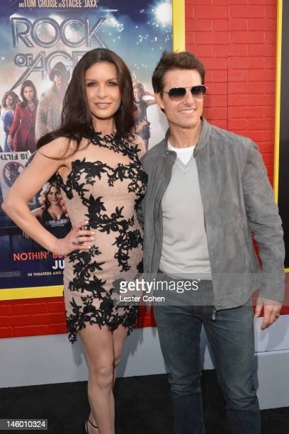Actors Catherine ZetaJones and Tom Cruise arrive at the Rock of Ages Los Angeles premiere held at Grauman's Chinese Theatre on June 8 2012 in...