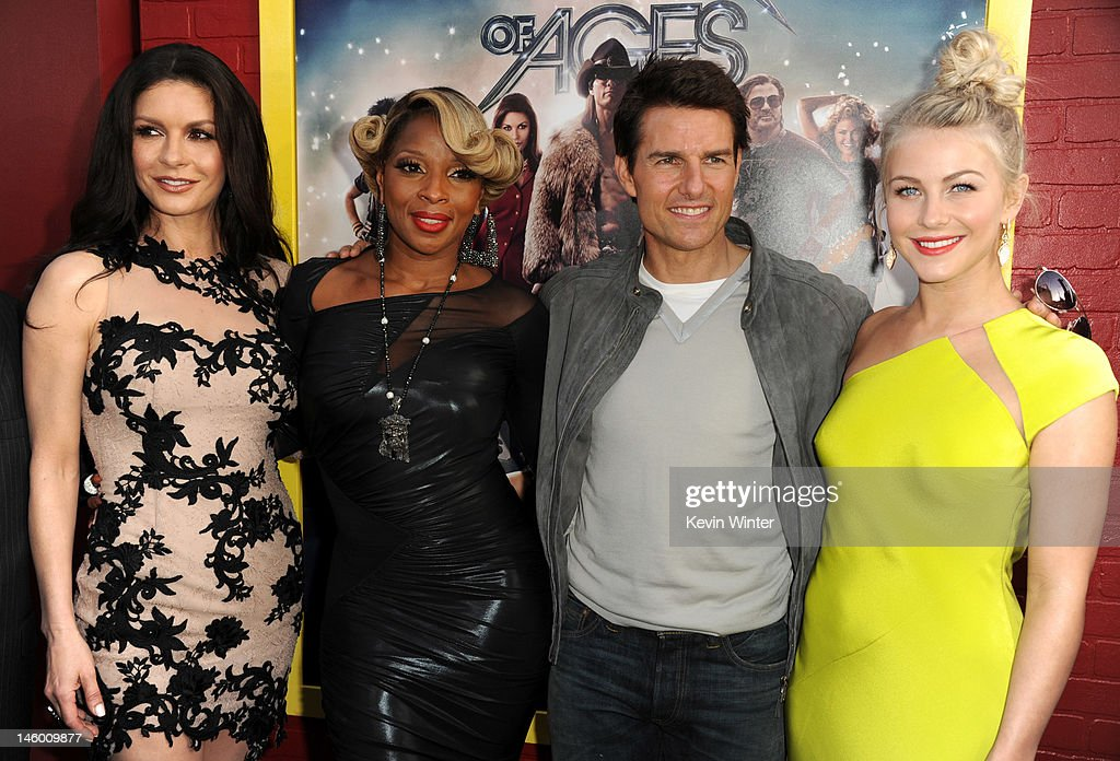 Actors Catherine Zeta-Jones, Mary J. Blige, Tom Cruise and Julianne Hough arrive at the premiere of Warner Bros. Pictures' 'Rock of Ages' at Grauman's Chinese Theatre on June 8, 2012 in Hollywood, California.
