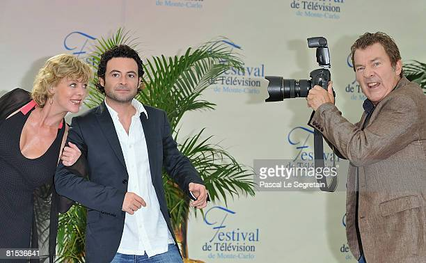 Actors Cecile Auclert Sebastien Knafo and Martin Lamotte attend a photocall promoting the television series Pere Maire on the fifth day of the 2008...