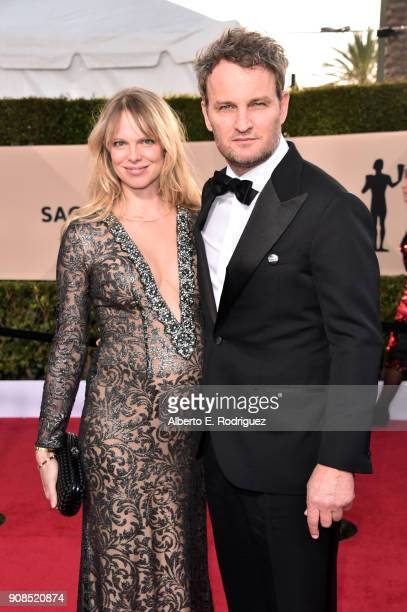 Actors Cecile Breccia and Jason Clarke attend the 24th Annual Screen Actors Guild Awards at The Shrine Auditorium on January 21 2018 in Los Angeles...