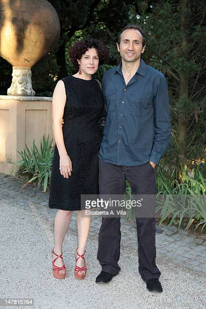 Actors Cecilia Dazzi and Sergio Albelli attend 2012 Globo d'Oro Italian Golden Globes Award at Villa Massimo on July 3 2012 in Rome Italy