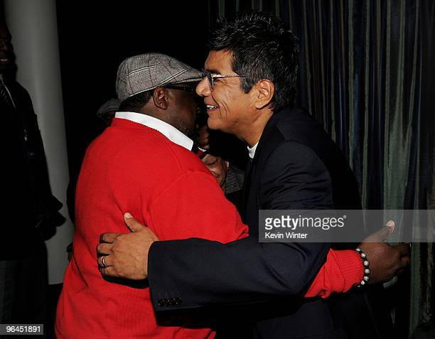 Actors Cedirc The Entertainer and George Lopez talk backstage at Help Haiti with George Lopez Friends at LA Live's Nokia Theater on February 4 2010...