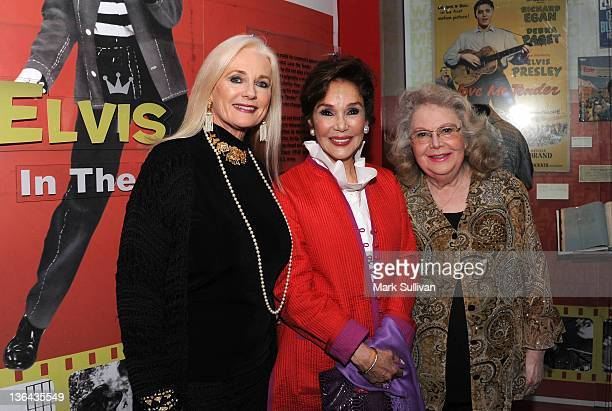 Actors Celeste Yarnall Mary Ann Mobley and Jan Shepard pose in The GRAMMY Museum before Elvis At The Movies at The GRAMMY Museum on January 4 2012 in...