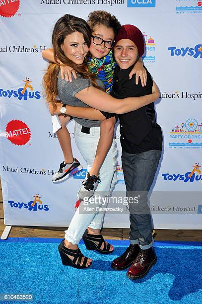 Actors Cerina Vincent Nicolas Bechtel and Isaak Presley attend the 17th Annual Mattel Party on the Pier on September 25 2016 in Santa Monica...