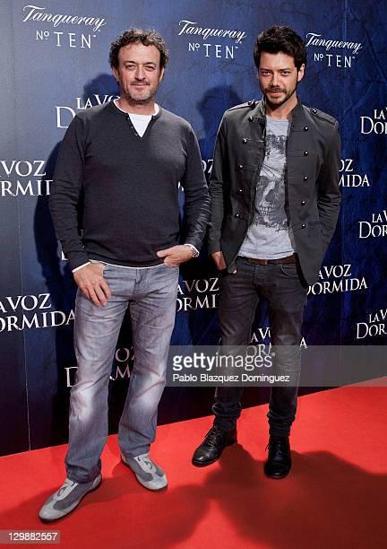 Actors Cesar Vea and Alvaro Morte attends La Voz Dormida Premiere at Capitol Cinema on October 20 2011 in Madrid Spain