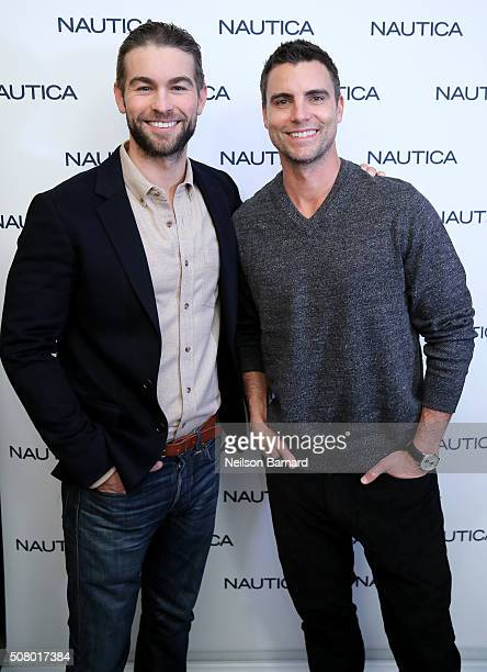 Actors Chace Crawford and Colin Egglesfield pose backstage the Nautica Men's Fall 2016 fashion show during New York Fashion Week Men's Fall/Winter...