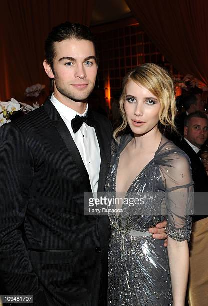 Actors Chace Crawford and Emma Roberts arrive at the 19th Annual Elton John AIDS Foundation Academy Awards Viewing Party at the Pacific Design Center...