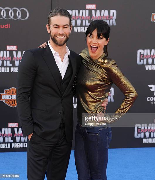 Actors Chace Crawford and Jessica Szohr arrive at the premiere of Marvel's Captain America Civil War on April 12 2016 in Hollywood California