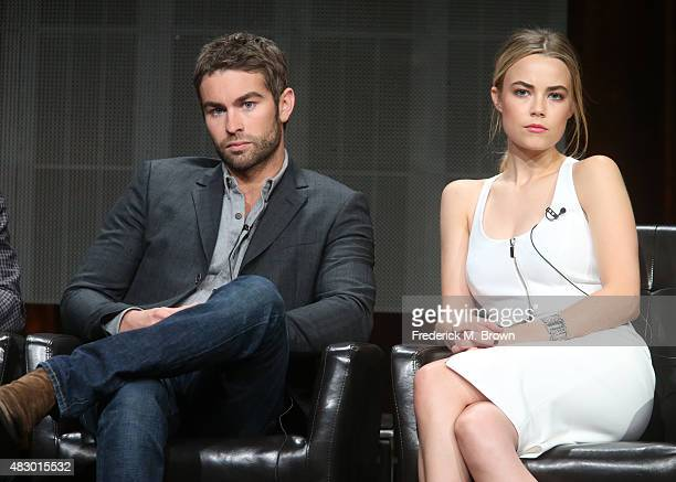 Actors Chace Crawford and Rebecca Rittenhouse speak onstage during the 'Blood Oil' panel discussion at the ABC Entertainment portion of the 2015...